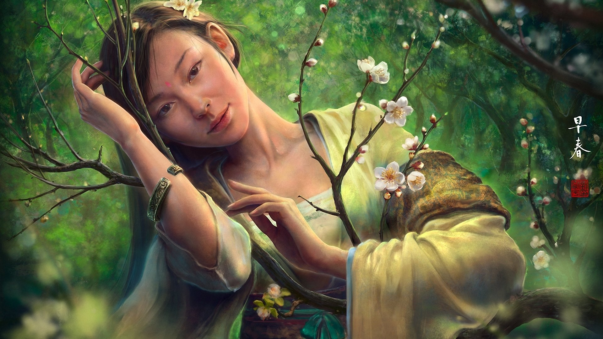 fantasy-girl-oriental-asian-chinese-peach-flowerearly-spring-bracelet-blossoms-1920x1080
