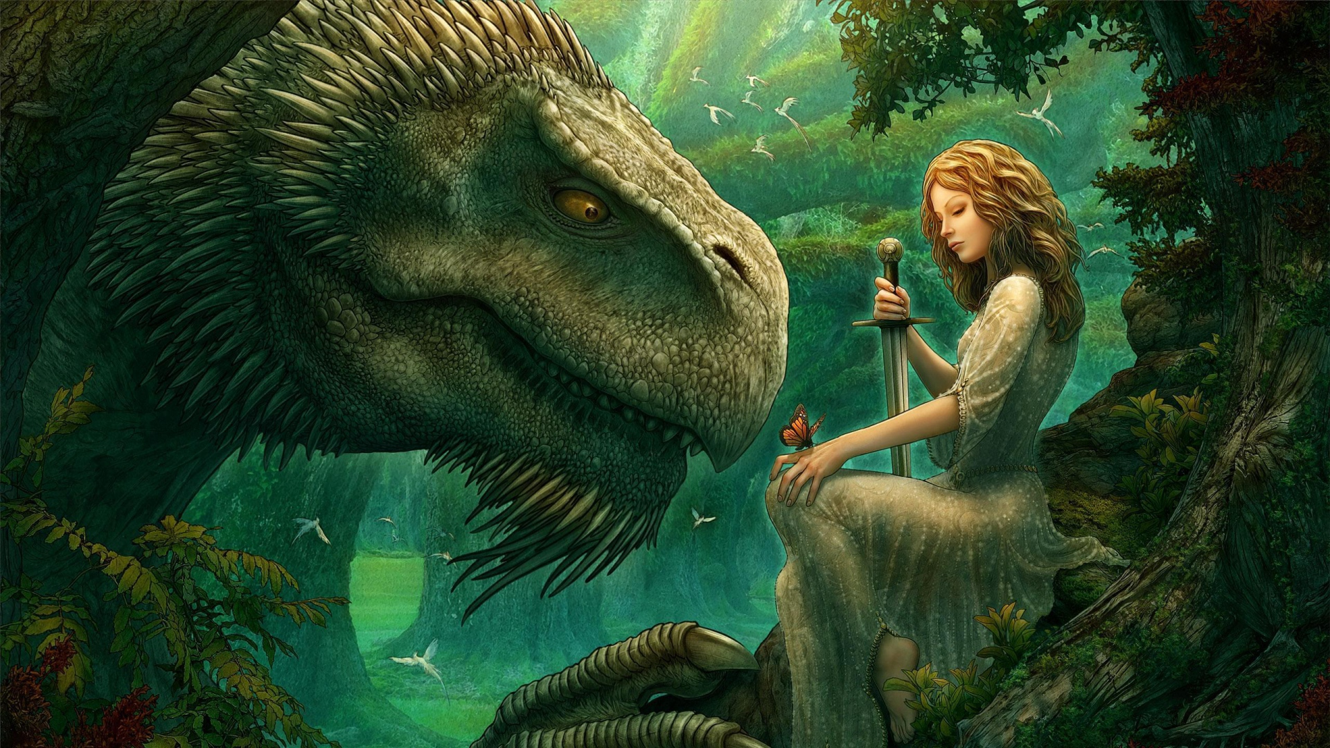 girl-dinosaur-sword-butterfly-wood-1920x1080