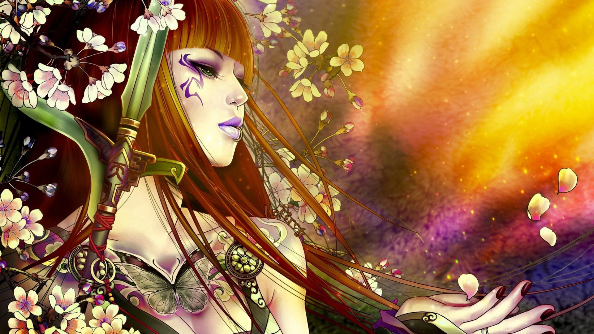 girl-hair-flowers-hand-petals-sword-1920x1080