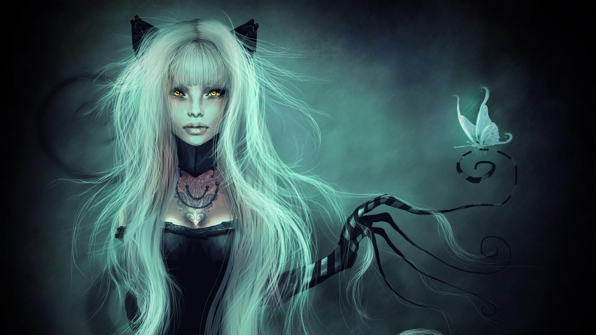 girl-hair-hand-butterfly-eyes-cat-1920x1080