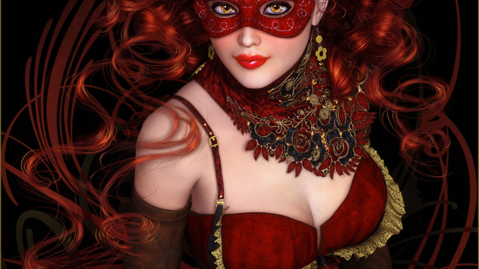 girl-mask-person-curls-dress-smile-1920x1080