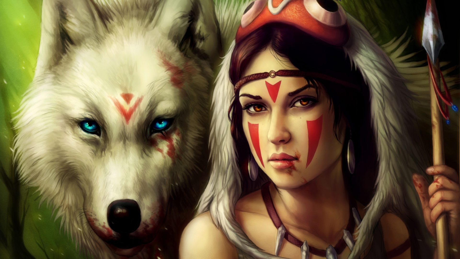 girl-spear-warrior-wolf-1920x1080