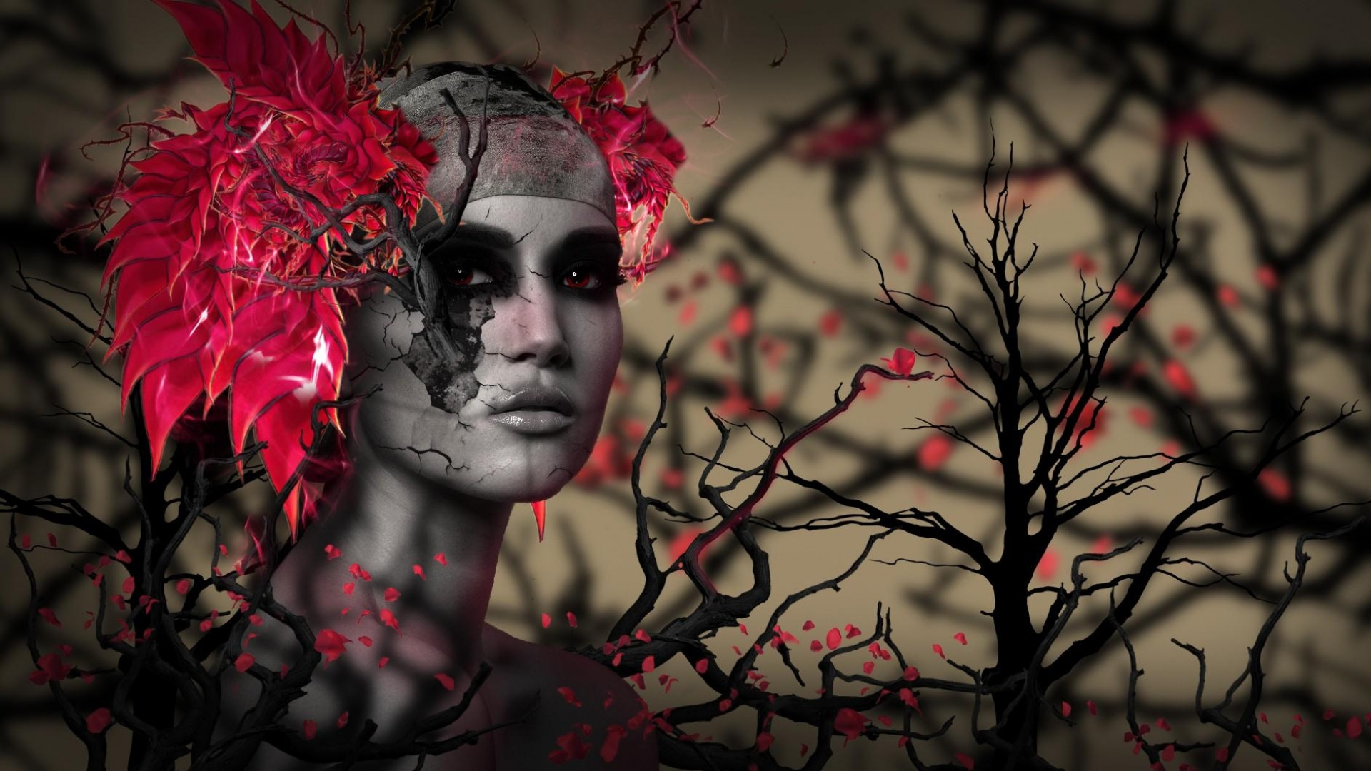 girl-trees-branches-flowers-1920x1080
