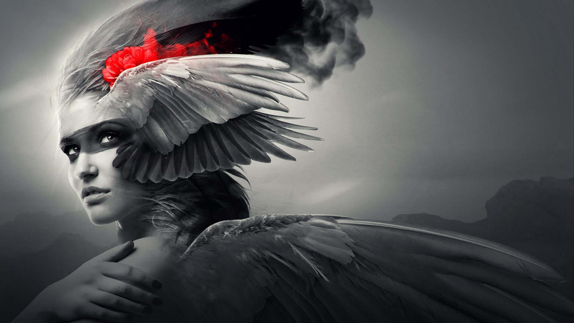 girl-wings-angel-black-white-1920x1080