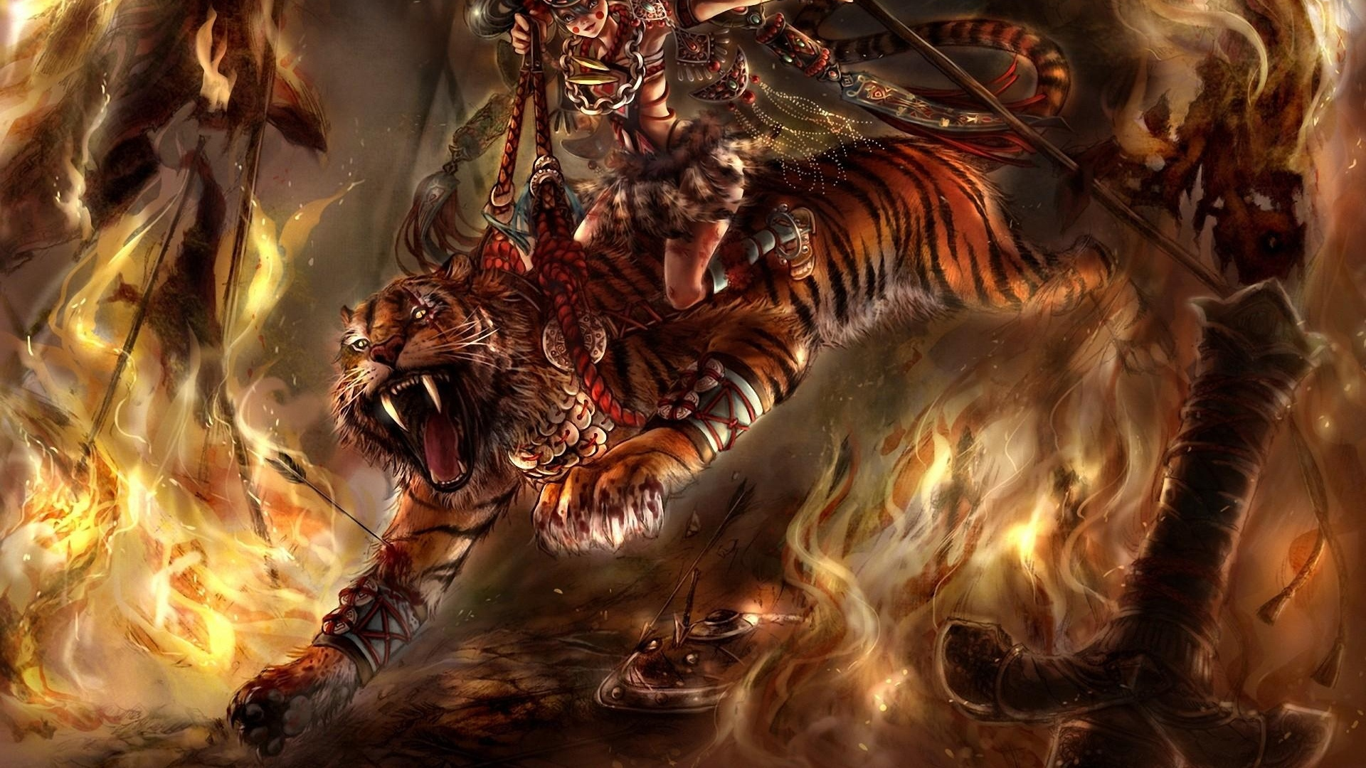 tiger-horsewoman-girl-fire-jump-1920x1080