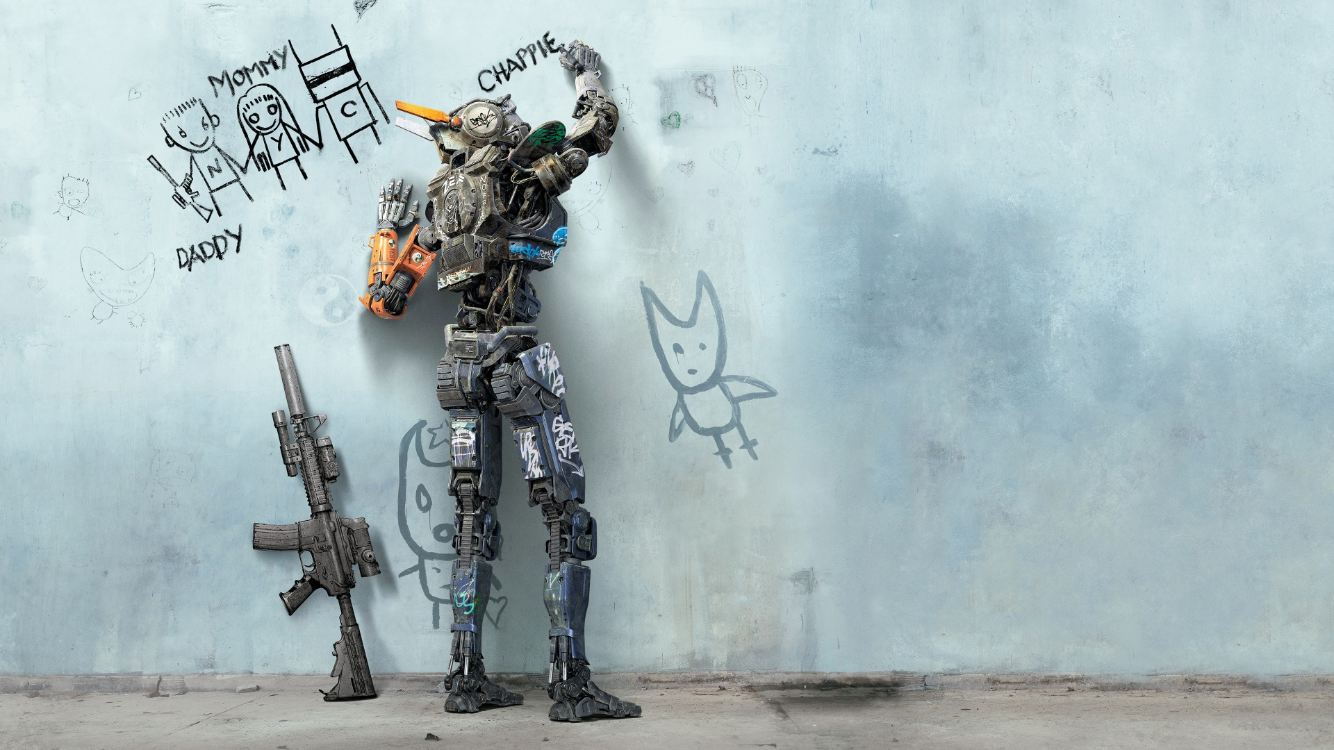 chappie-robot-rifle-movie-writing-wall-4k-wallpaper-1920x1080