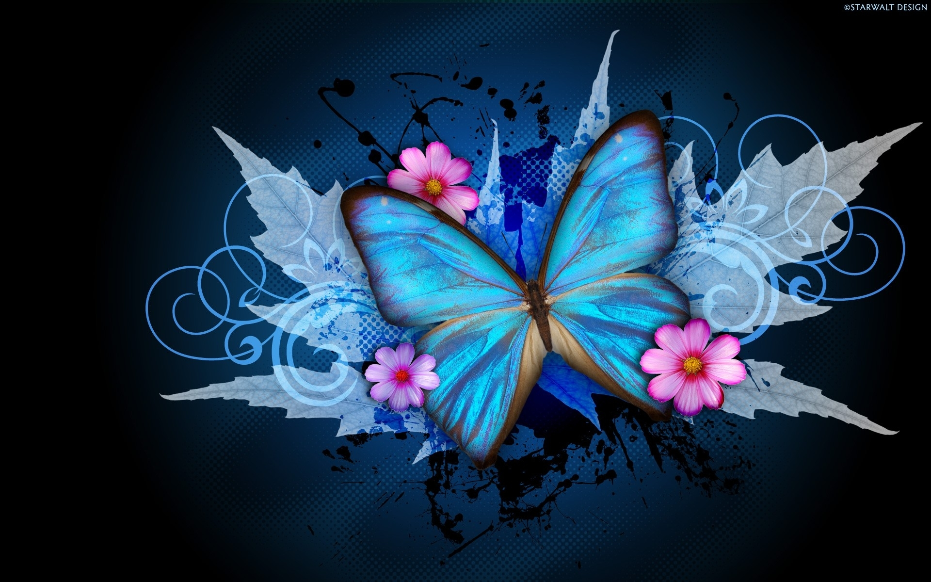 ws_Abstract_Butterfly_&_Flowers_1920x1200