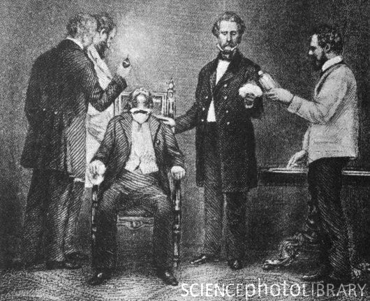First use of surgical anesthesia. The first public demonstration of surgical anesthesia, at the Massachusetts General Hospital, October 16 1846. Various anesthetics, from alcohol to opium, were used through history, but it was not until 1846 that a successful operation was demonstrated to the public and an account published. The anesthetist, seen here administering ether gas through the patient's mouth, was the American dentist William T.G. Morton (1819-1868). The operation was carried out to remove a tumor in the patient's neck. A bitter, unresolved dispute ensued between Morton and his colleagues as to who was the actual discoverer. Morton later died in poverty after suffering a mental breakdown.