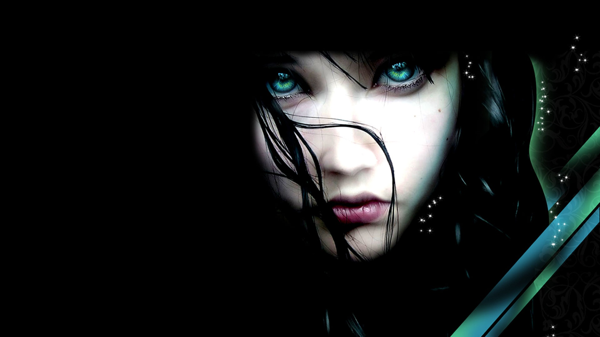 fantasy-girl-green-eyes-white-skin-dark-background-black-hair-staring-1920x1080