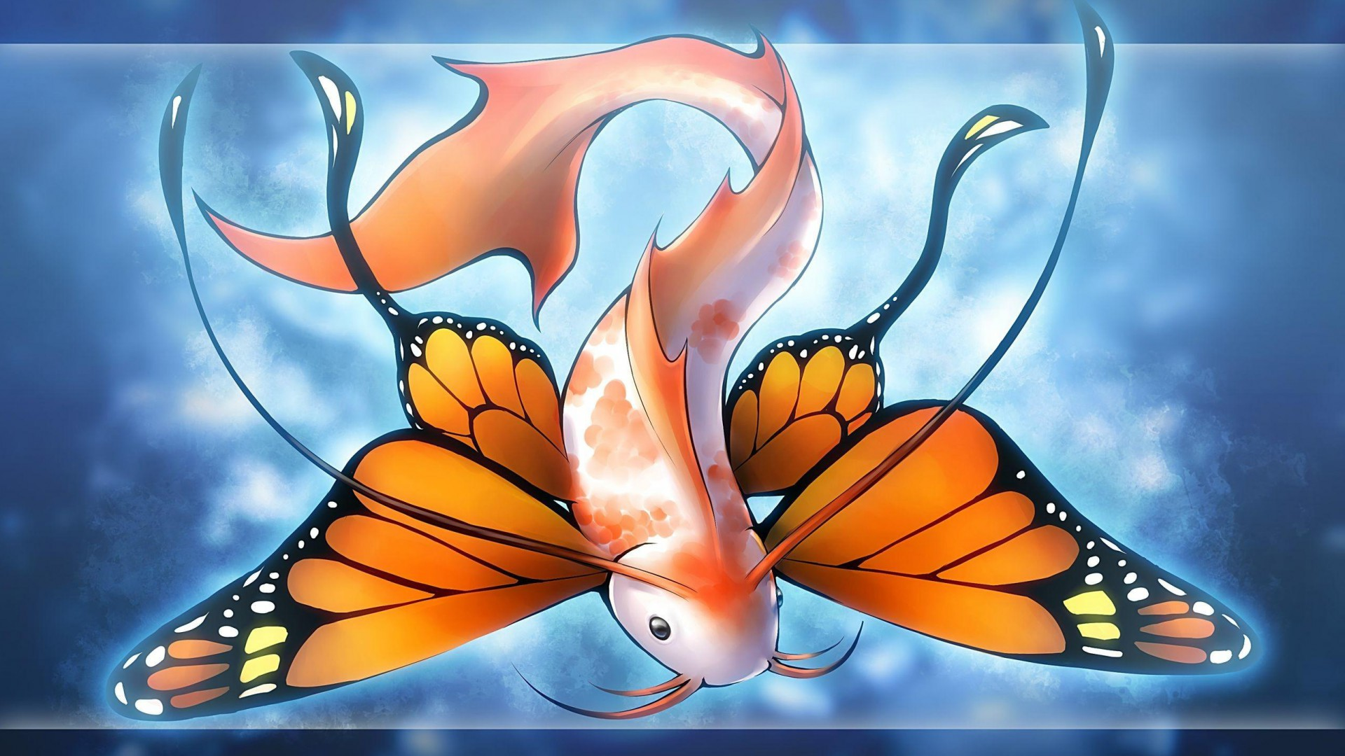 fish-fantasy-butterfly-wings-fish-beard-blue-background-yellow-tail-1920x1080