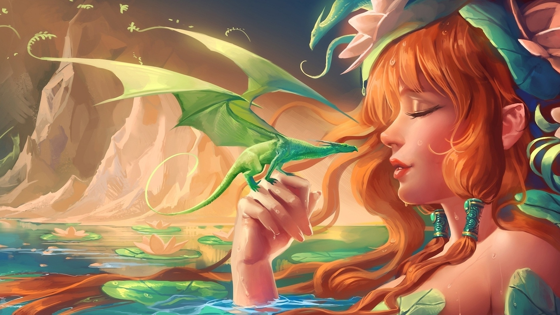 girl-dragon-baby-mountains-water-water-lily-1920x1080