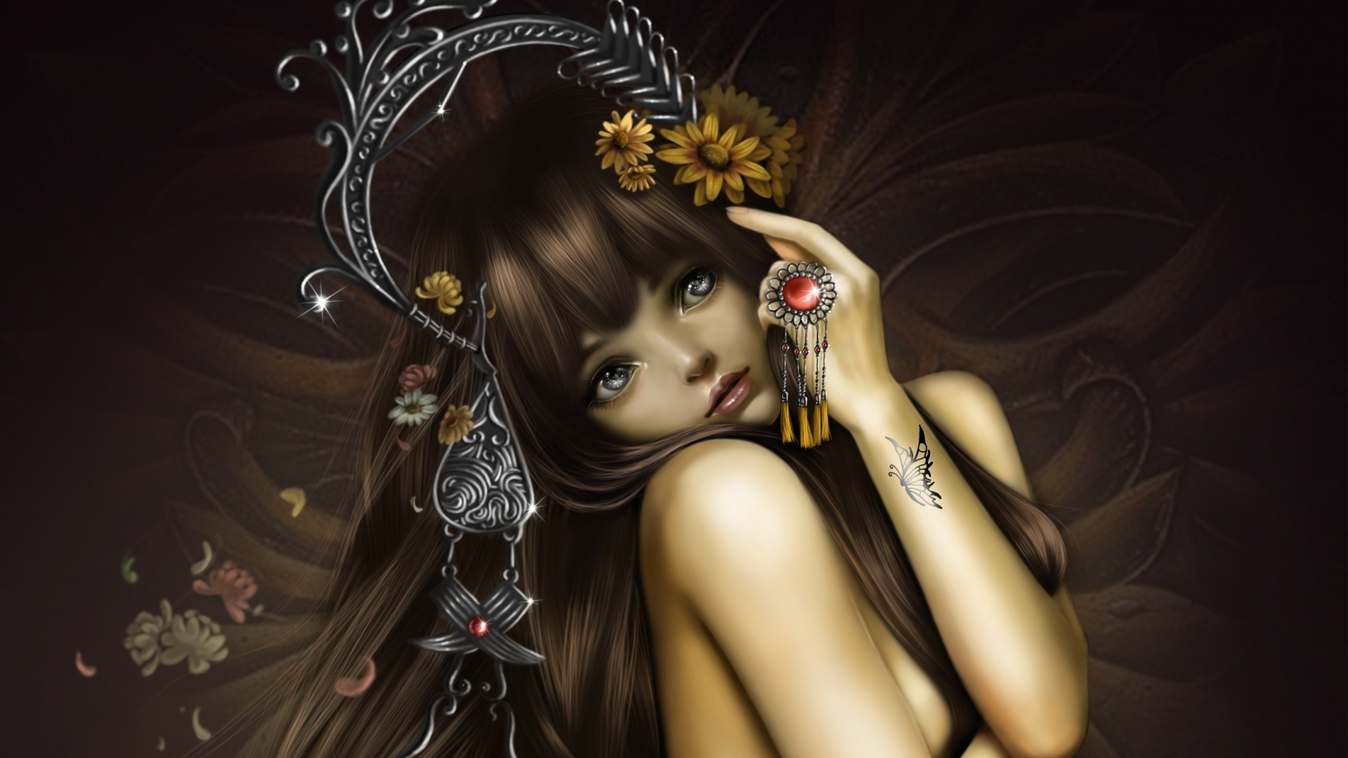 girl-eyes-tattoo-butterfly-hair-ornaments-1920x1080