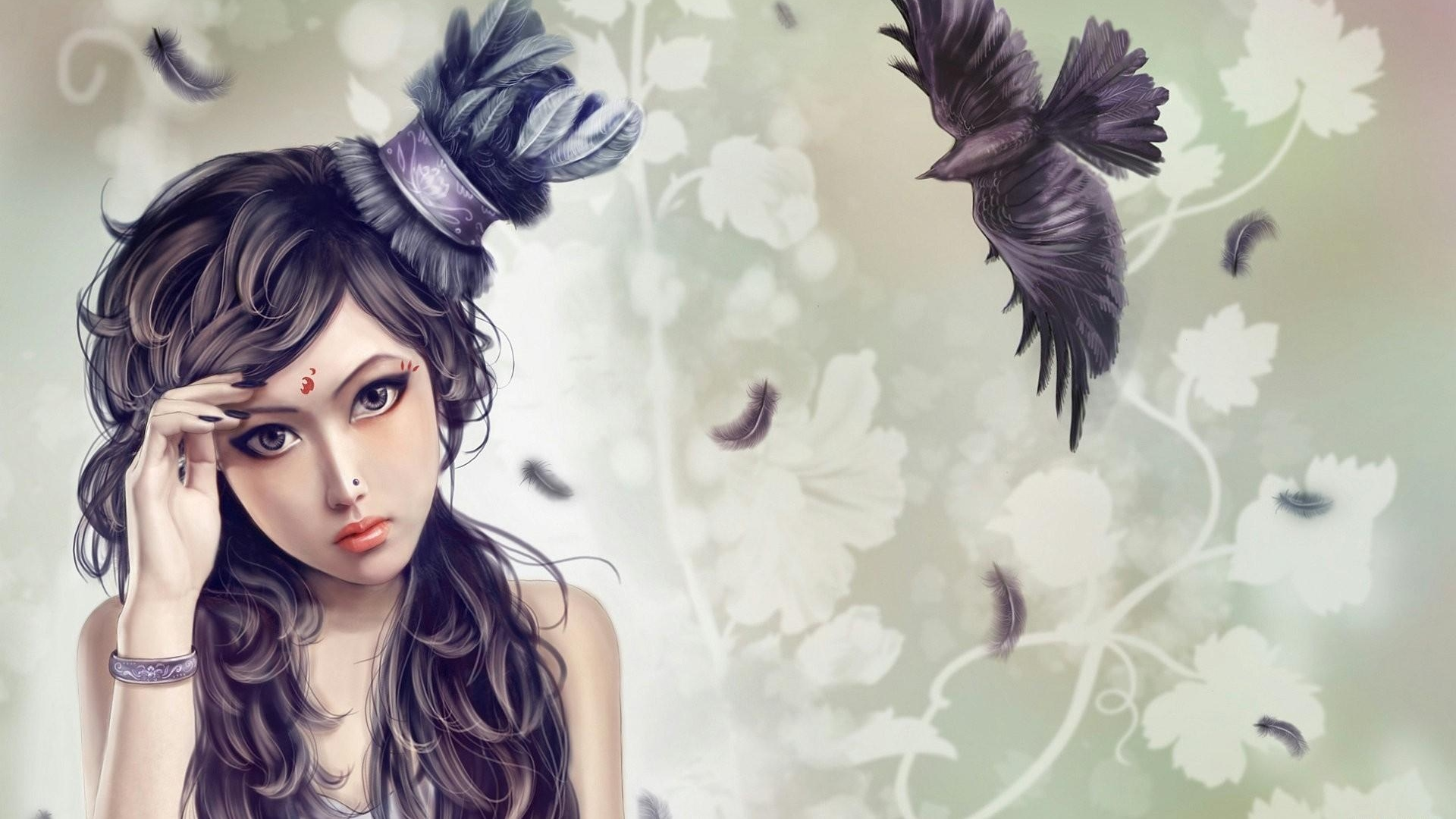 girl-hat-bird-crow-flying-feathers-1920x1080