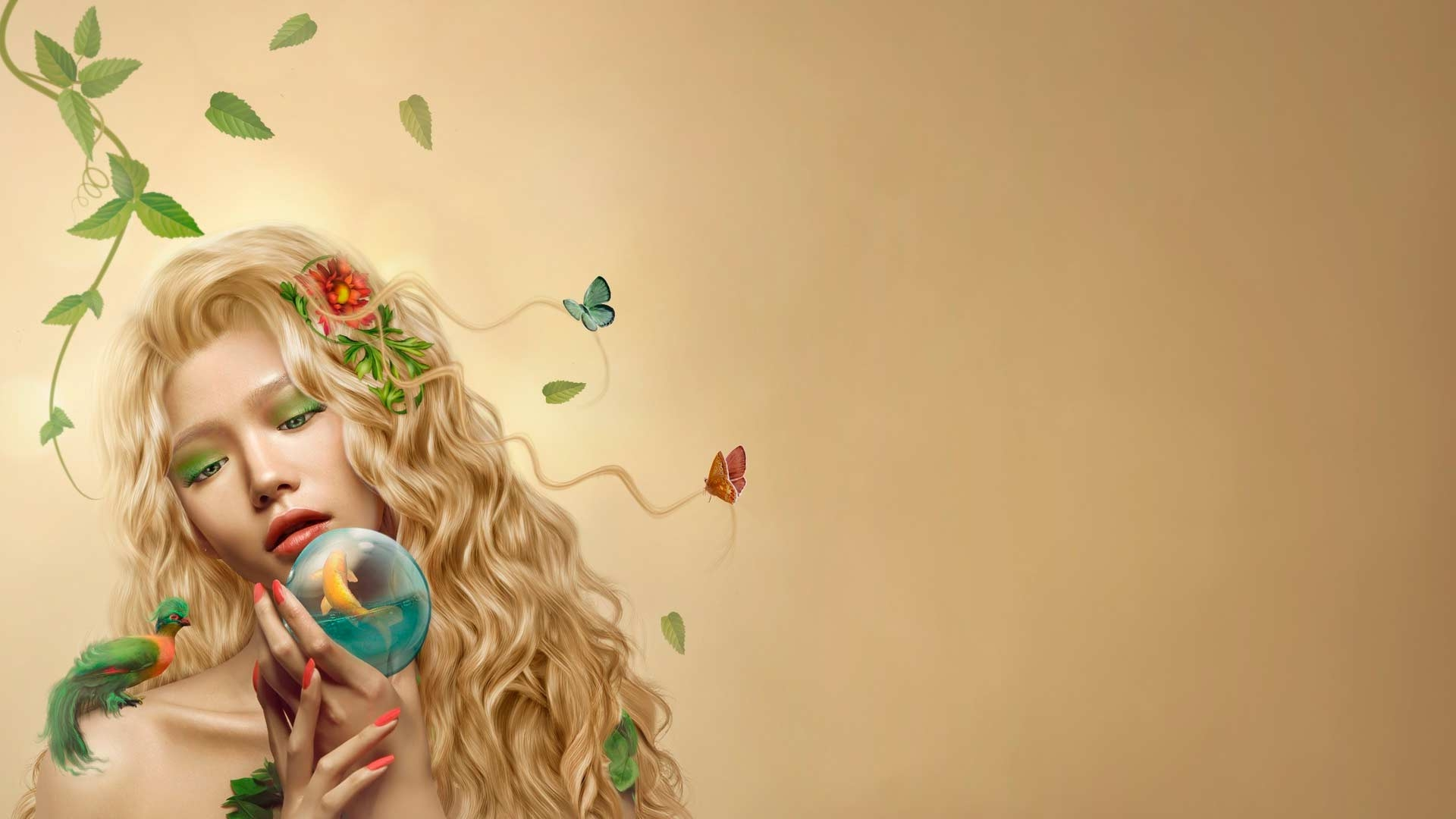 girl-ringlets-butterflies-small-fish-sphere-1920x1080