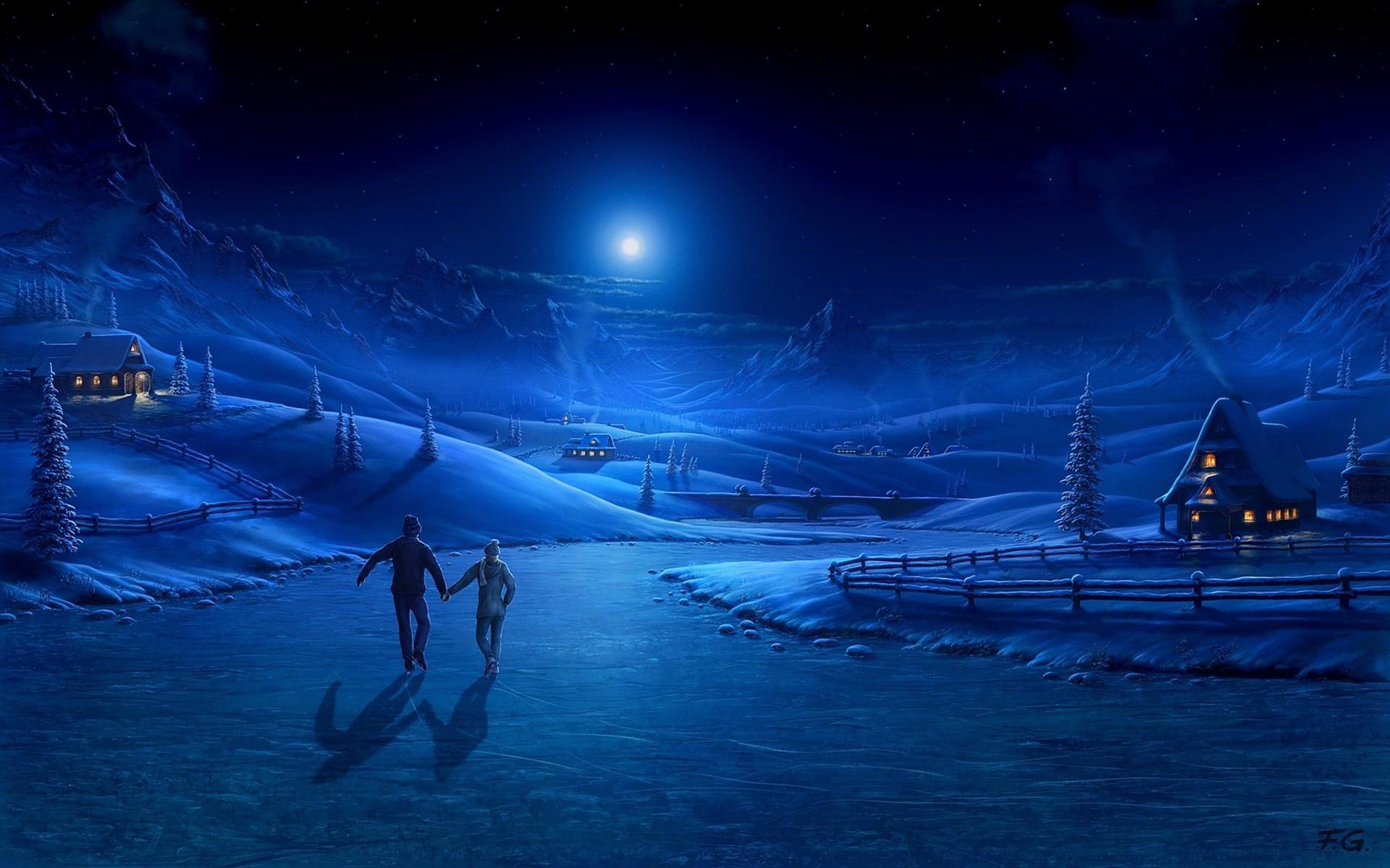 night-ice-pair-light-moon-skating-rink-art-lodge-smoke