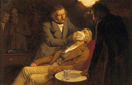 V0018140 The first use of ether in dental surgery, 1846. Oil painting Credit: Wellcome Library, London. Wellcome Images images@wellcome.ac.uk http://images.wellcome.ac.uk The first use of ether in dental surgery, 1846. Oil painting by Ernest Board. By: Ernest BoardPublished:  -  Copyrighted work available under Creative Commons by-nc 2.0 UK, see http://images.wellcome.ac.uk/indexplus/page/Prices.html